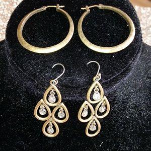 Lucky Brand 2 tone set of 2 earrings